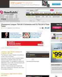 Champions League T20 2013 Schedule and CLT20 2013: NowPublic